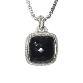 David Yurman Albion Sterling Silver Onyx Diamond Pendant
