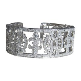 Judith Ripka Couture 18K White Gold and 5ct Diamond Cuff Castle Bracelet