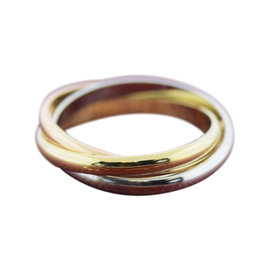 Cartier 18K White, Rose & Yellow Gold Trinity Extra Small Ring Size 4.5