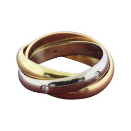 Cartier 18K White, Yellow & Rose Gold Trinity Diamond Ring Size 4.5