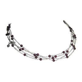 David Yurman 925 Sterling Silver with Garnet Bead Chain Necklace