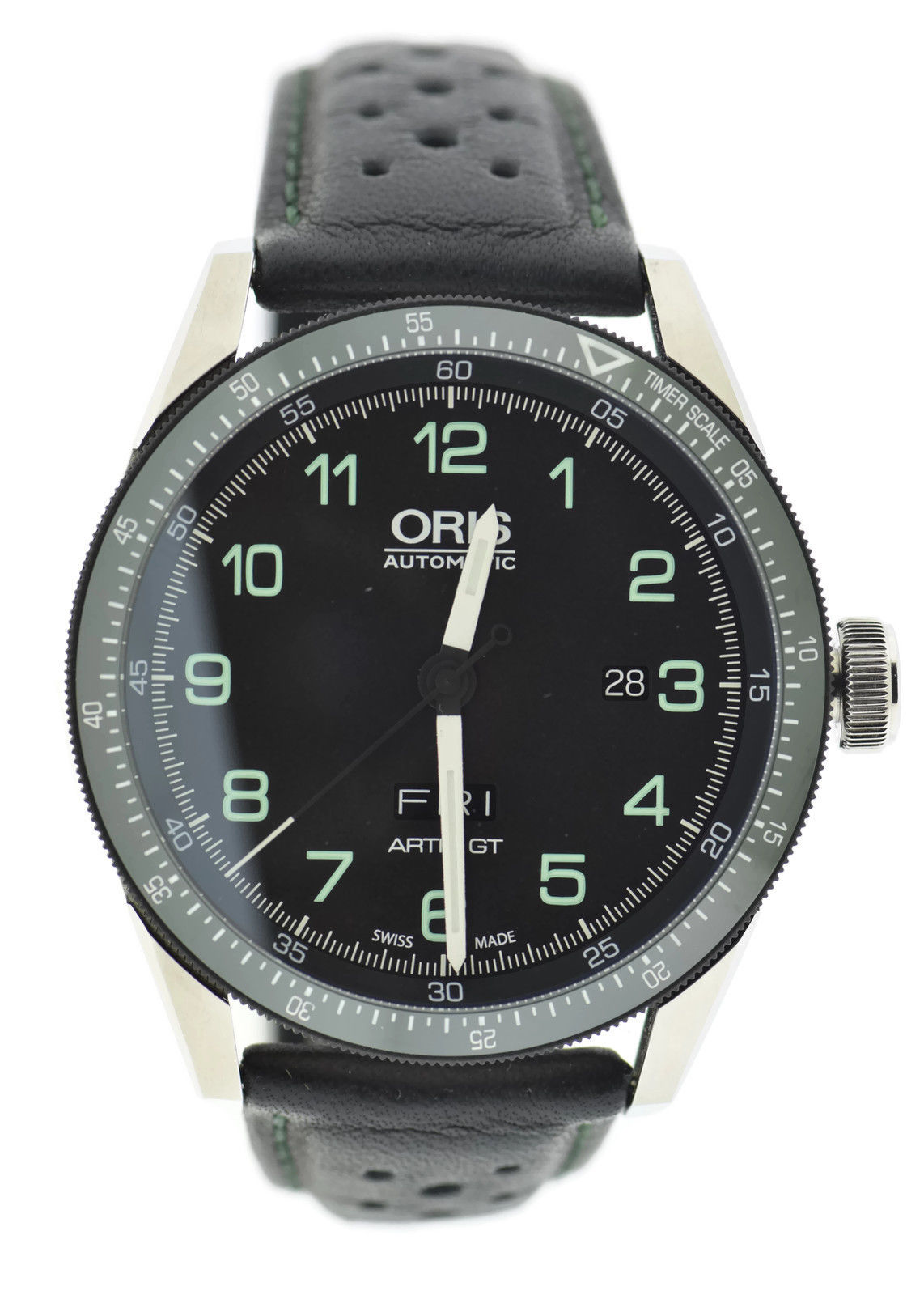 """Image of """"Oris Artix GT Day Date Calobra 7706 Stainless Steel & Leather 44mm"""""""