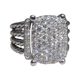 David Yurman Wheaton 925 Sterling Silver with Pave Diamond Ring Size 6.5