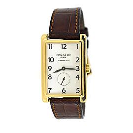 Patek Phlippe Gondolo 5009J 18K Yellow Gold & Leather Manual 25mm Mens Watch