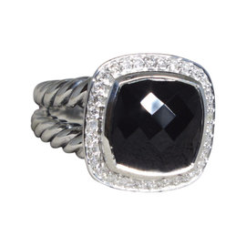 David Yurman Albion 925 Sterling Silver with Onyx and Diamond Ring Size 7