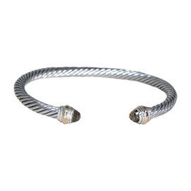 David Yurman 14K Yellow Gold & 925 Sterling Silver with Smoky Quartz Cable Cuff Bracelet