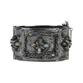 Chanel Gunmetal with Labradorite Beads and Enamel 'CC' Hinge Cuff Bracelet