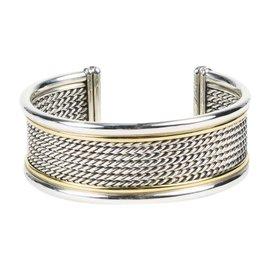 David Yurman 18K Yellow Gold & 925 Sterling Silver Cable Cuff