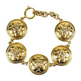 Chanel Gold Tone Harware Medallion Bracelet
