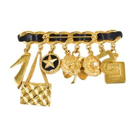 Chanel Gold Tone Hardware and Leather Multi Charm Brooch