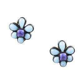 Chanel Silver Tone Hardware with Blue & Purple Gripoix Stone Flower Clip On Earrings