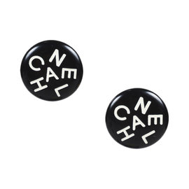 Chanel Gold Tone Hardware Black & White Resin Logo Clip On Earrings