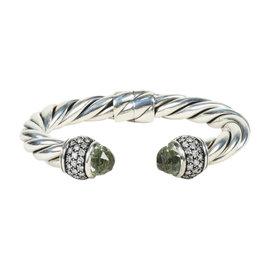 David Yurman 925 Sterling Silver Prasiolite & 1.79ct. Diamond Starlight Cable Bracelet