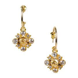Chanel Crystal 'CC' Gold Tone Hardware with Crystals Drop Earrings