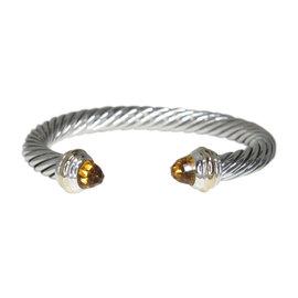 David Yurman 14K Yellow Gold & 925 Sterling Silver Citrine Cuff Bracelet