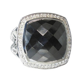 David Yurman Albion 925 Sterling Silver Hematine Diamond Ring Size 7