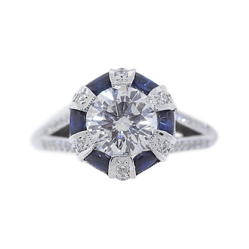 "Image of ""Tacori 18K White Gold 1.69ct Diamond 0.66ct Sapphire Ring Size 8"""