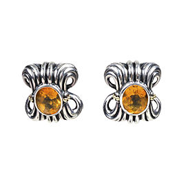 Lagos 925 Sterling Silver and 18K Yellow Gold with Citrine Clip On Earrings