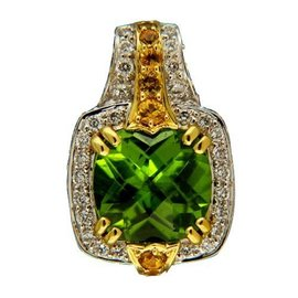Charles Krypell 18K Yellow Gold with Sapphires, 4.02ct Peridot and Diamond Pendant