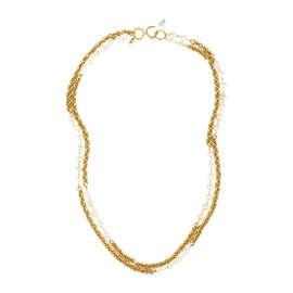 Chanel Gold Tone Hardware with Faux Pearl Long Double Strand Necklace