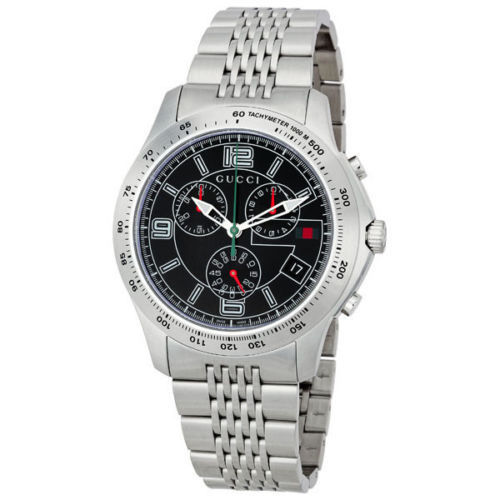 """Image of """"Gucci G-Timeless Ya126205 Stainless Steel Black Dial Quartz 44mm Mens"""""""