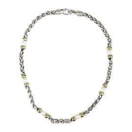 David Yurman 14K Yellow Gold & 925 Sterling Silver with Cultured Pearl Necklace