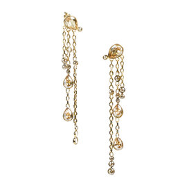 Christian Dior Gold Tone Hardware with Crystal Teardrop Chain Chandelier Earrings