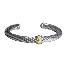 David Yurman Cable Station 18K Yellow Gold and 925 Sterling Silver with Sapphire Bracelet