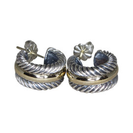 David Yurman Cable 14K Yellow Gold and Sterling Silver Hoop Earrings