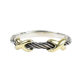 David Yurman Sterling Silver & 14K Yellow Gold Double X Cable Ring Size 7.5