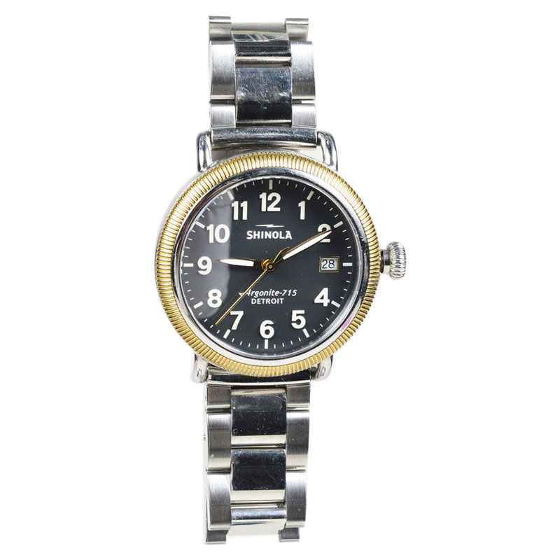 "Image of ""Shinola Runwell Coin Edge Stainless Steel Black Dial Quartz Unisex"""