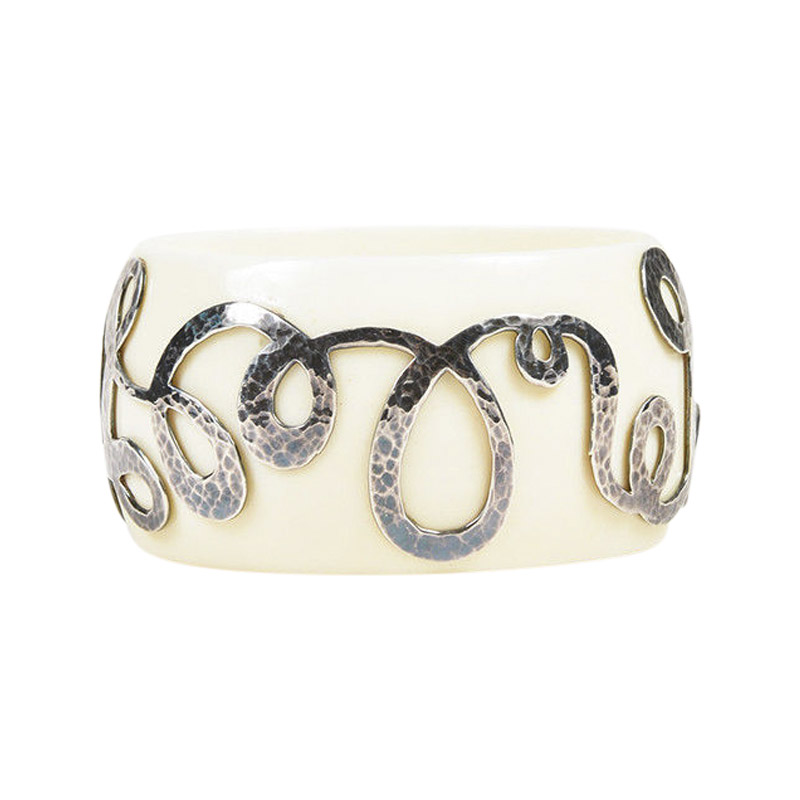 "Image of ""Ippolita 925 Sterling Silver/Cream Resin Swirl Bangle Bracelet"""