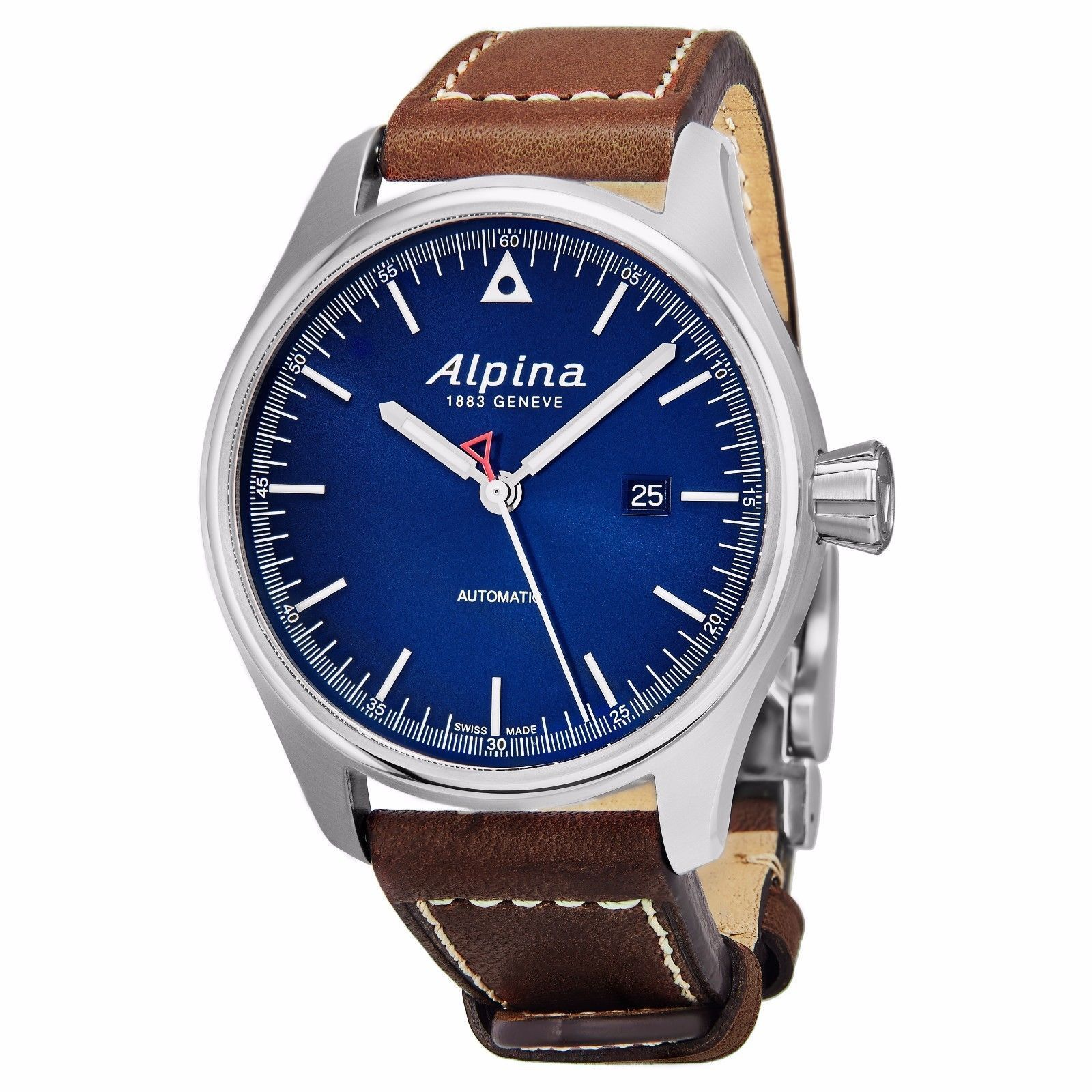 "Image of ""Alpina Al-525N4S6 Stainless Steel & Leather Blue Dial Automatic 44mm"""