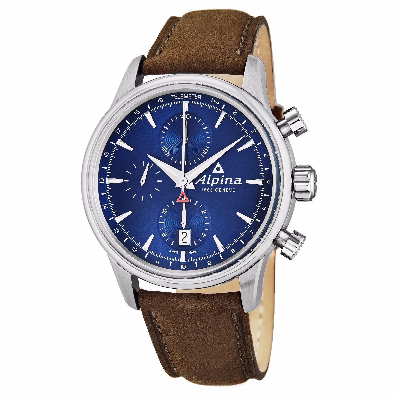 "Image of ""Alpina Al-750N4E6 Stainless Steel & Leather Blue Dial Automatic 41.5mm"""