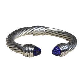 David Yurman 925 Sterling Silver with Amethyst Cuff Bracelet