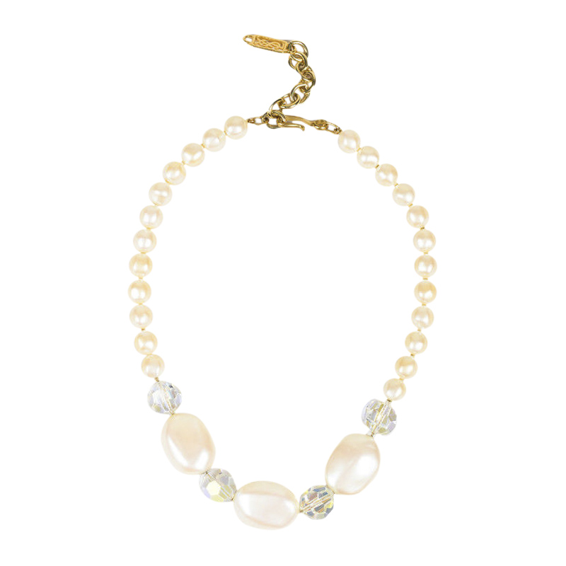 "Image of ""Yves Saint Laurent Gold Tone Hardware with Cream Iridescent Faux Pearl"""