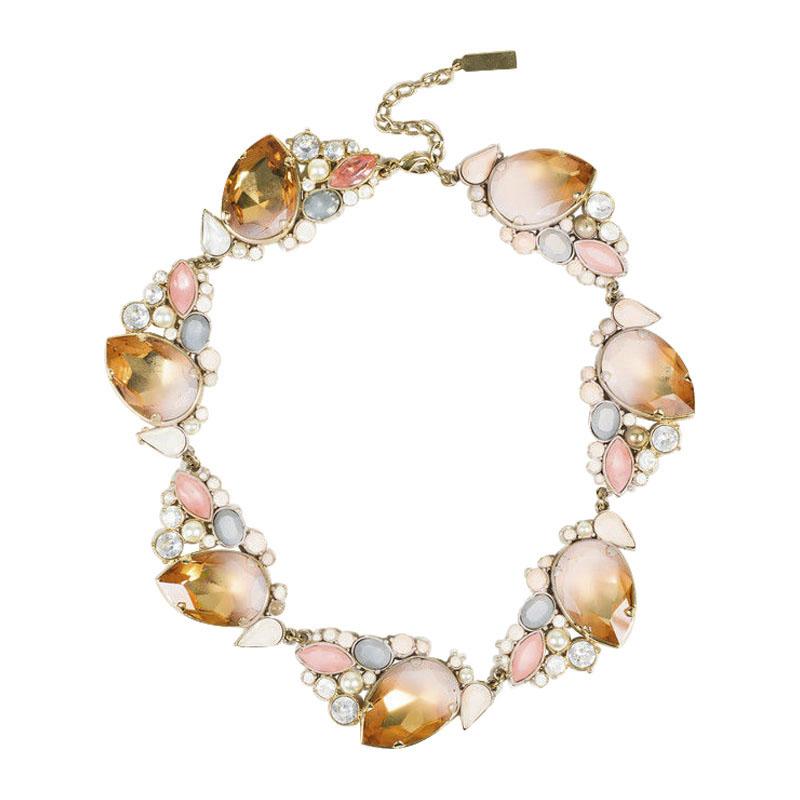 "Image of ""Nina Ricci Gold Tone Hardware with Pink Crystal Embellished Necklace"""