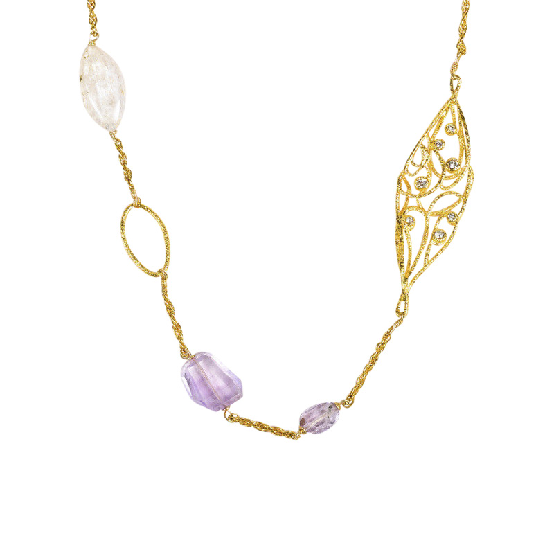 "Image of ""Alexis Bittar Gold Tone Hardware with Lavender Green Glass, Quartz &"""
