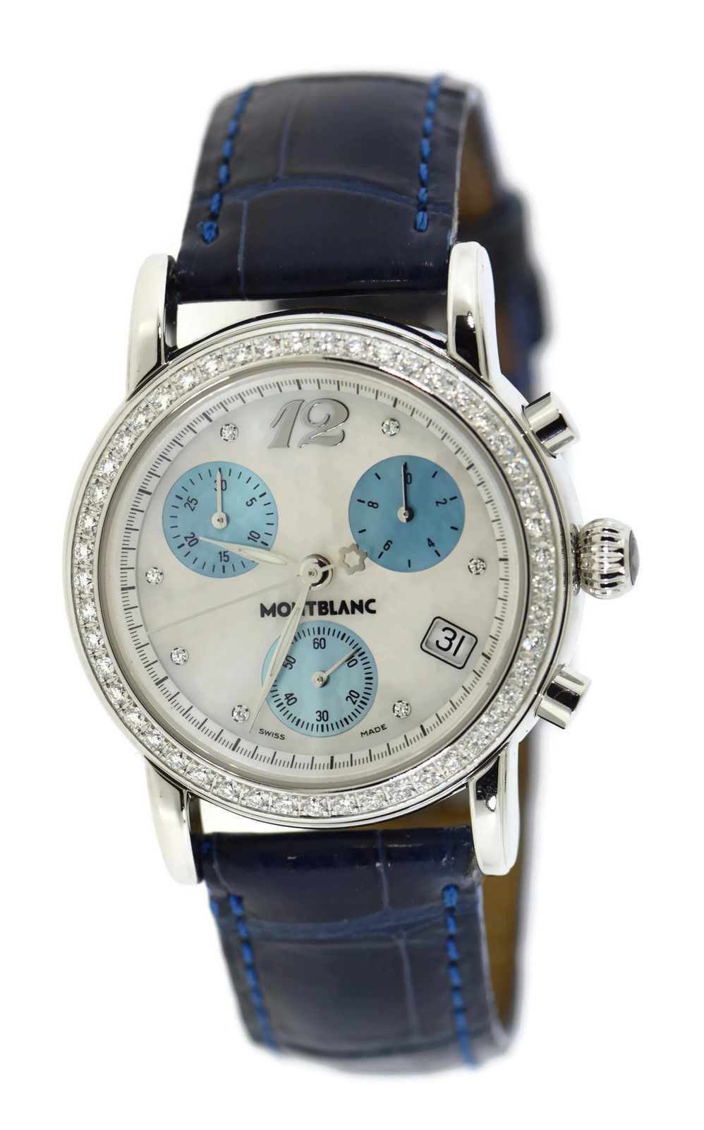 "Image of ""Montblanc Star 7039 Stainless Steel & Leather Diamond Quartz 32mm"""