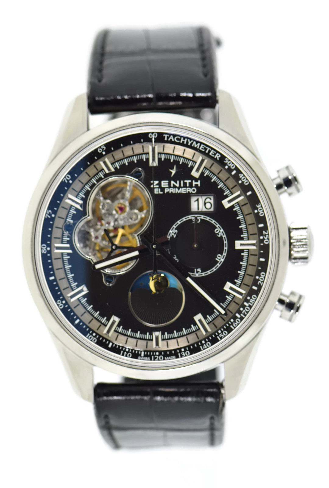 "Image of ""Zenith 03.2160.4047 Stainless Steel & Leather Automatic 45mm Mens"""