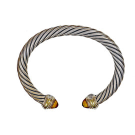 David Yurman Sterling Silver and 14k Yellow Gold Cable Classic Bangle Bracelet