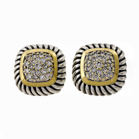 David Yurman Sterling Silver & 18K Yellow Gold Cushion Albion Cable 0.40ct. Diamond Earrings