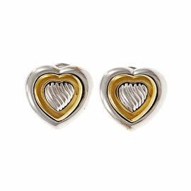 David Yurman Sterling Silver & 18K Yellow Gold Heart Earrings