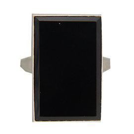 Tiffany & Co. Platinum Bezel Set Beveled Edge Onyx Ring Size 6.25