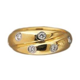 Tiffany & Co. Platinum & 18K Yellow Gold 0.30ct Diamond Etoile Crisscross Ring Size 5.25