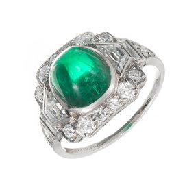 Tiffany & Co. Platinum Emerald & Diamond Sugar Loaf Ring Size 6.75