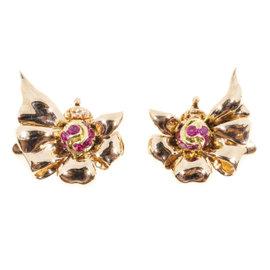 Tiffany & Co. 14K Rose Gold & Ruby Clip Earrings