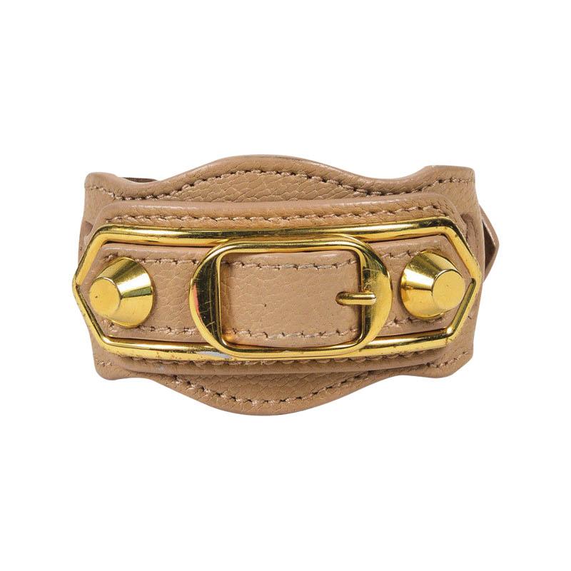 """Image of """"Balenciaga Beige Nougatine Veal Leather & Gold Tone Hardware"""""""