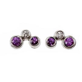 Tiffany & Co. 950 Platinum Pink Sapphire & Diamond Bubble Earrings