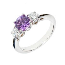 Tiffany & Co. 950 Platinum 1.22ct Sapphire & 0.74ct Diamond Engagement Ring Size 6